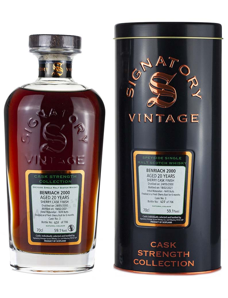 Alcoholic Drinks Benriach 20 Year Old 2000 Signatory Cask Strength